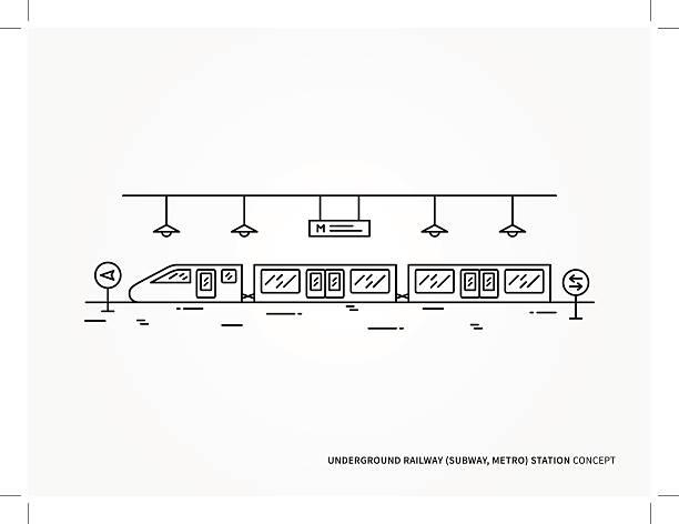 illustrazioni stock, clip art, cartoni animati e icone di tendenza di subway station line vector illustration - subway