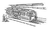 Subway Station Stop Train Drawing