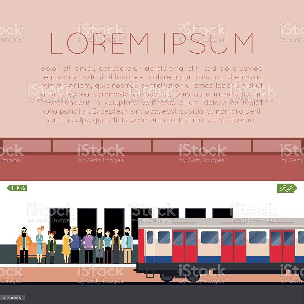 Subway train banner vector art illustration