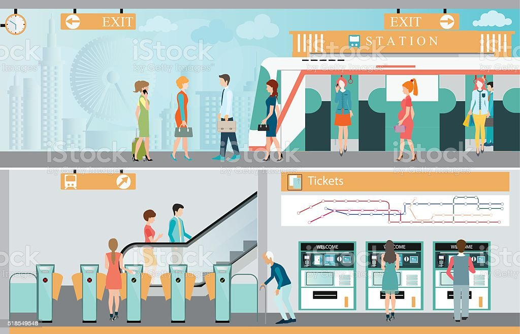 Subway train station platform with people traveling. vector art illustration