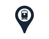 istock Subway Train Symbol With Navigation Location Map Pin Icon Vector Illustration 1208789331