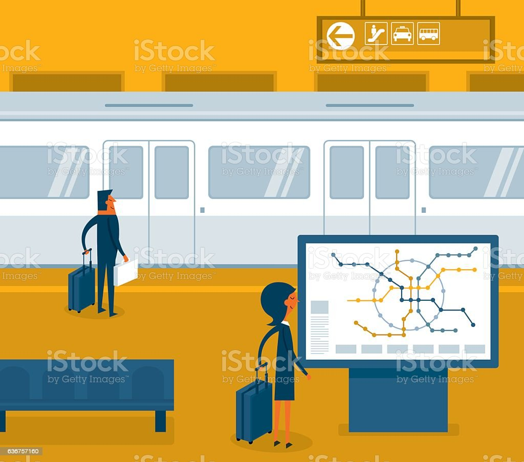 Subway train vector art illustration