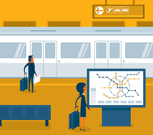 Subway train vector art illustration