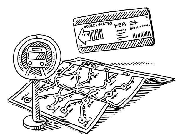 Subway Transport Map Ticket Drawing Hand-drawn vector drawing of a Subway Transport Map, a Subway Ticket and a Subway Sign. Black-and-White sketch on a transparent background (.eps-file). Included files are EPS (v10) and Hi-Res JPG. game stock illustrations