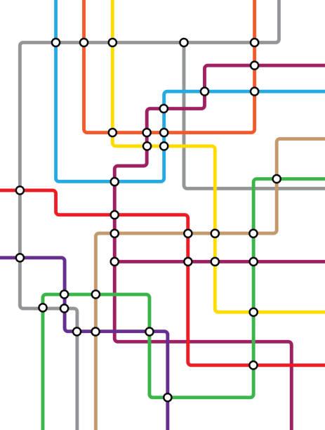 Subway tube map. City transportation vector grid scheme. Metro underground map. DLR and crossrail map design template underground stock illustrations
