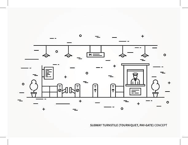 illustrazioni stock, clip art, cartoni animati e icone di tendenza di subway turnstile linear vector illustration - subway