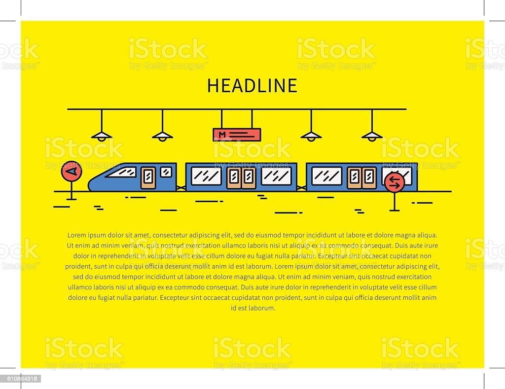 Subway underground railway station linear vector illustration vector art illustration
