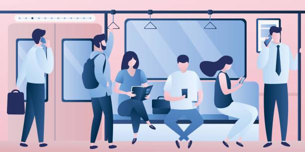 地下鉄地下鉄、ガジェットと様々な乗客と列車の近代的なインテリア。 - 通勤点のイラスト素材/クリップアート素材/マンガ素材/アイコン素材