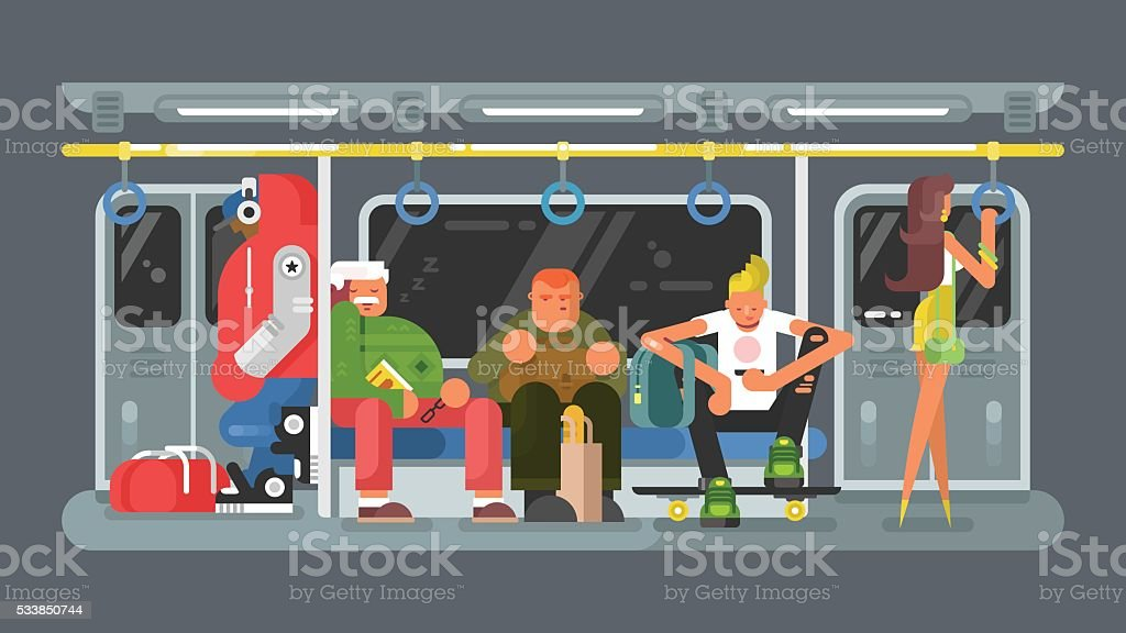 Subway with people flat design vector art illustration