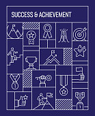 Success and Achievement Concept. Geometric Retro Style Banner and Poster Concept with Success and Achievement Line Icons