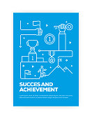 Success and Achievement Concept Line Style Cover Design for Annual Report, Flyer, Brochure.