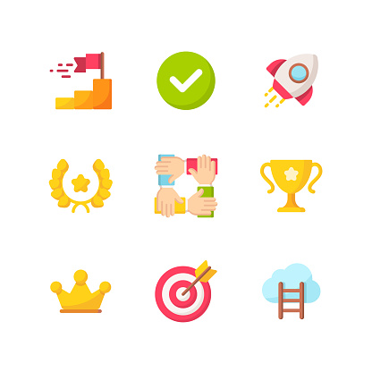 Success and Awards Flat Icons.Pixel Perfect. For Mobile and Web. Contains such icons as Winning, Checkmark, Rocket, Teamwork, Crown.