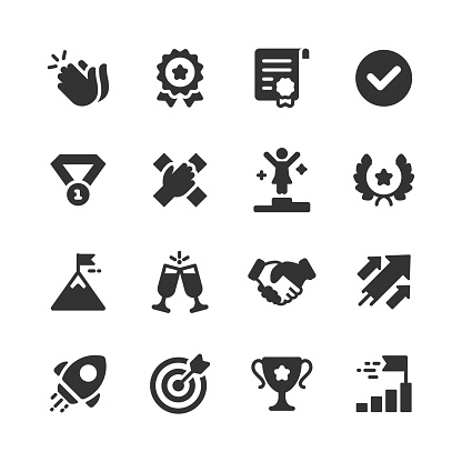 Success and Awards Glyph Icons. Pixel Perfect. For Mobile and Web. Contains such icons as Applause, Medal, Badge, Winning, Rocket, Trophy.