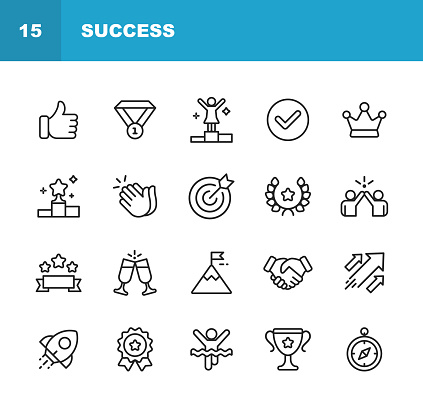 Success and Awards Line Icons. Editable Stroke. Pixel Perfect. For Mobile and Web. Contains such icons as Winning, Teamwork, First Place, Celebration, Rocket.