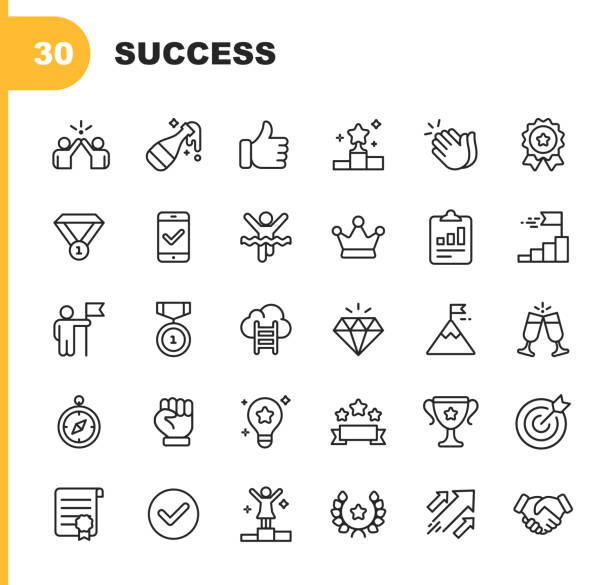 Success and Awards Line Icons. Editable Stroke. Pixel Perfect. For Mobile and Web. Contains such icons as Champagne, High Five, Finish Line, Handshake, Medal. 30 Success and Awards Outline Icons. dignity stock illustrations