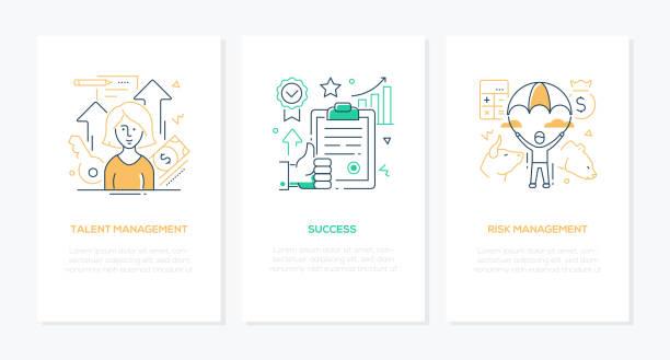 Success and management - line design style banners set vector art illustration