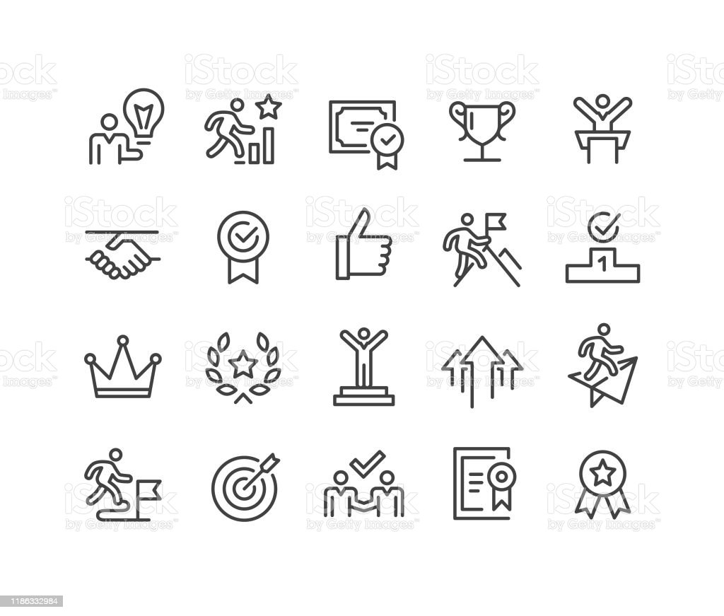Success and Motivation Icons - Classic Line Series Success, Motivation, Aspirations stock vector