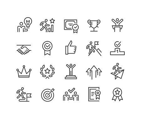 Success And Motivation Icons Classic Line Series Stock Illustration - Download Image Now