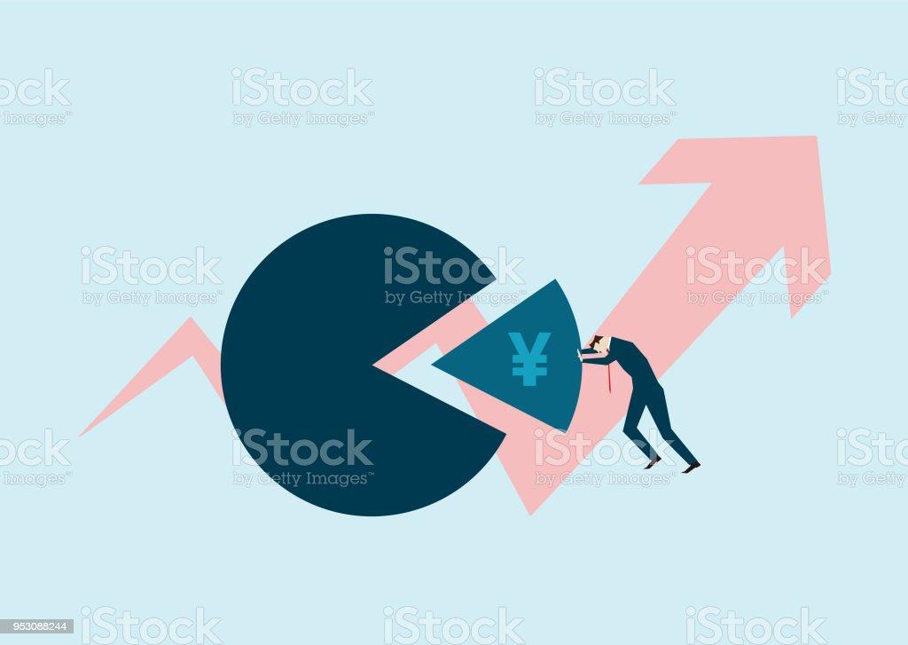 Success Arrow And Pie Chart Cooperative Investmentrenminbi Stock