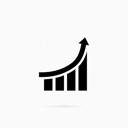 Success as growth line. Growing bars graphic with rising arrow. Growing graph icon in black. Bar chart. Infographic. The concept of your capital growth or forecasting analysis algorithm.