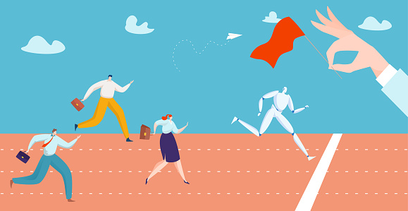 Success businessman and businesswoman people running rivalry competitor, future robot company office algorithm flat vector illustration.
