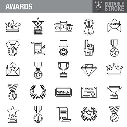 Success Editable Stroke Icon Set