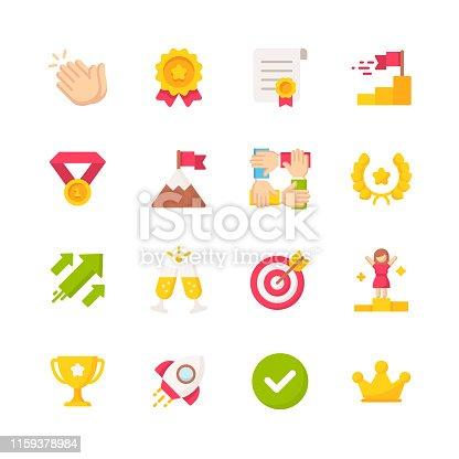 16 Success Flat Icons.