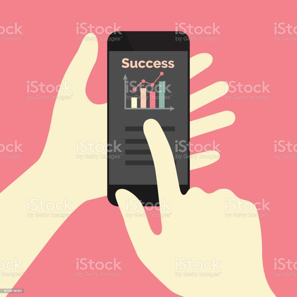 Success graph on phone app vector art illustration