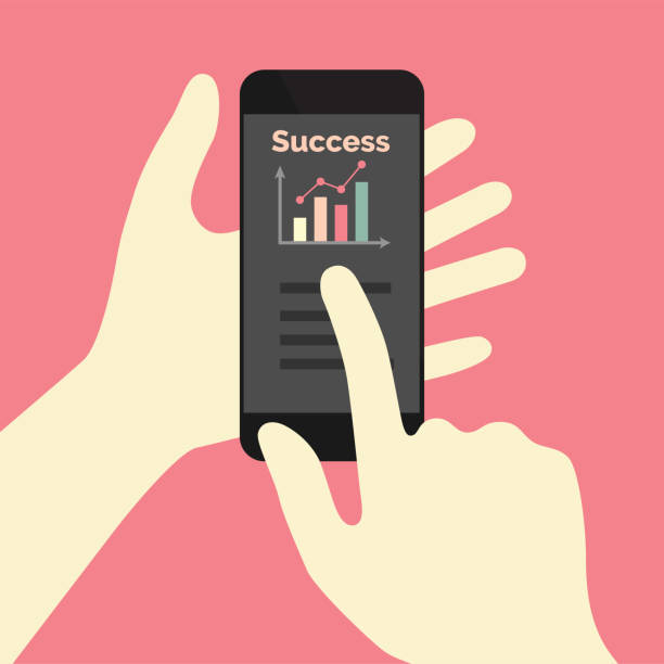 Success graph on phone app vector art illustration