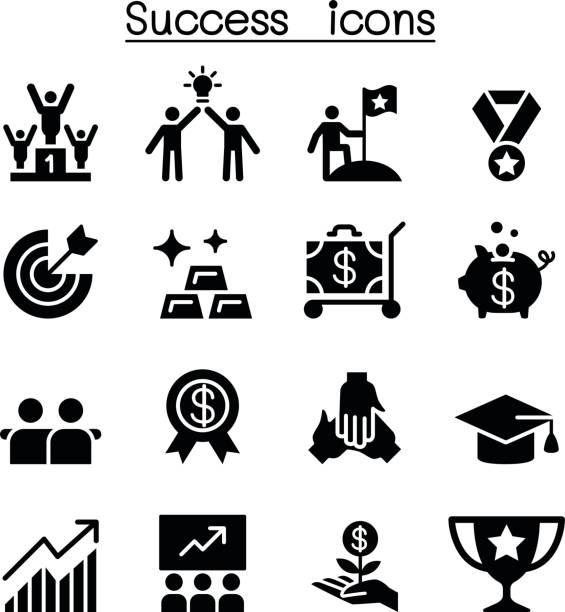 Success icon set flat style Success icon set flat style bonus march stock illustrations