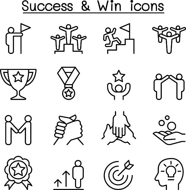 stockillustraties, clipart, cartoons en iconen met success icon set in thin line style - beschrijvende begrippen