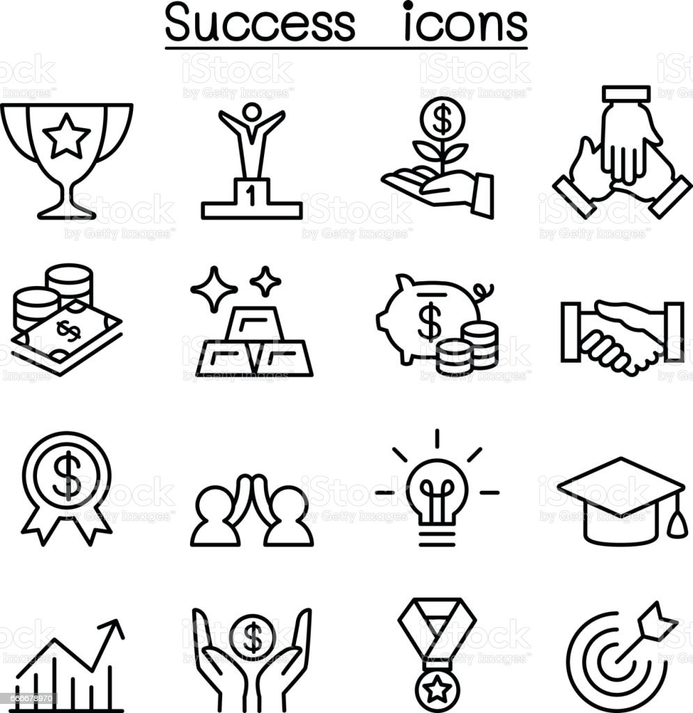 Success icon set in thin line style vector art illustration