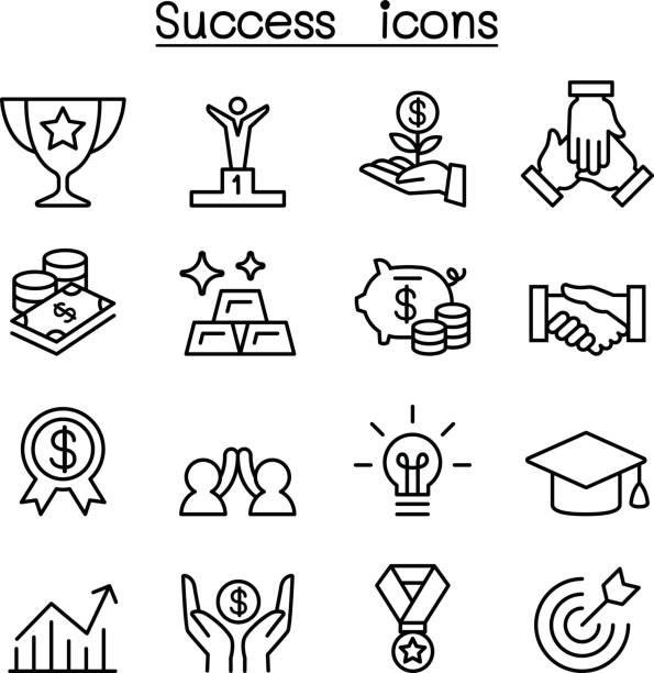 Success icon set in thin line style Success icon set in thin line style bonus march stock illustrations