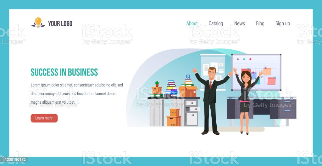 Success in business. Career ladder, success leader with team. vector art illustration