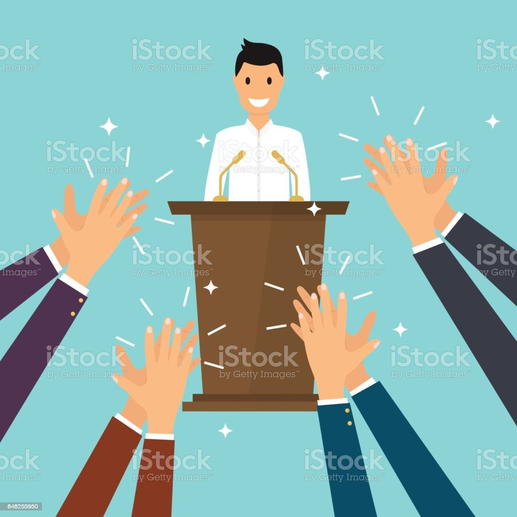 Success in business. Man giving a speech on stage. Human hands clapping. Flat design modern vector illustration concept. vector art illustration
