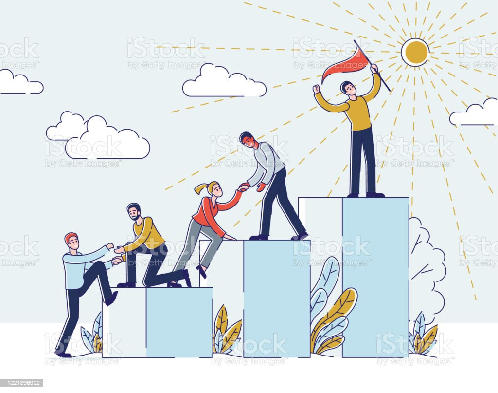 success in business or career concept businessmen climbing career ladder people stand on podiums with leader in front in top position holding flag cartoon linear outline flat vector illustration stock illustration success in business or career concept businessmen climbing career ladder people stand on podiums with leader in front in top position holding flag cartoon linear outline flat vector illustration stock illustration
