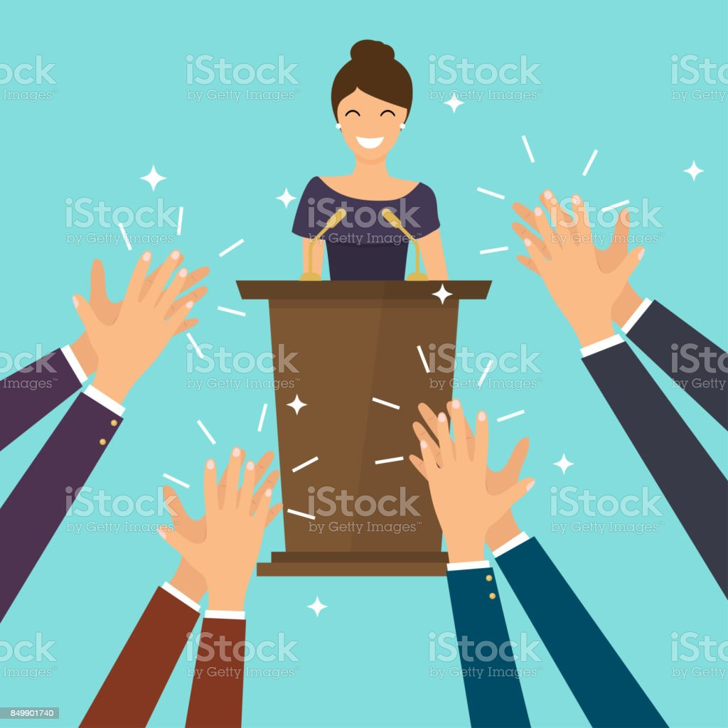 Success in business. Woman giving a speech on stage. Human hands clapping. Flat design modern vector illustration concept. vector art illustration