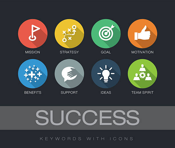 Success keywords with icons vector art illustration