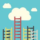Success ladder to cloud