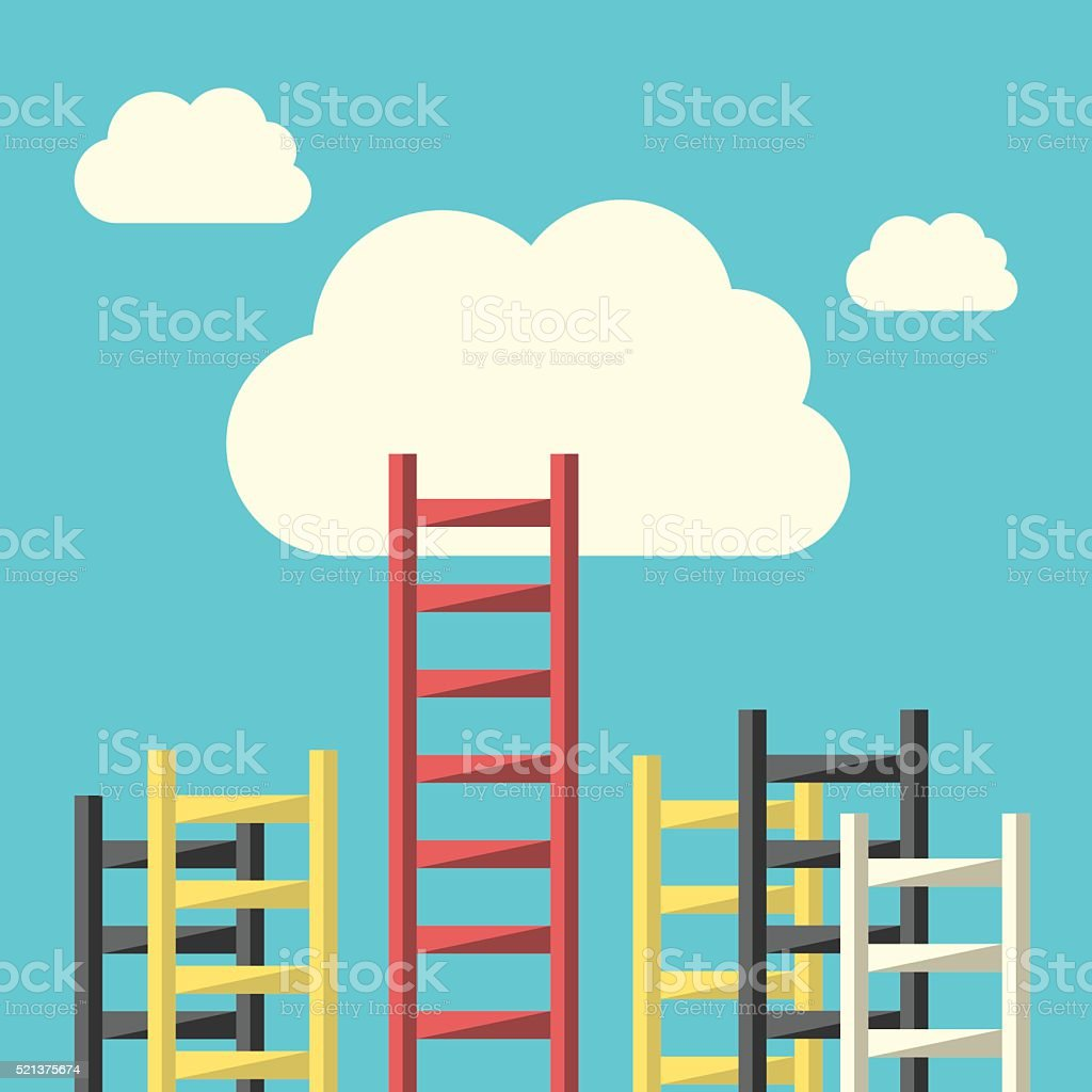 Success ladder to cloud vector art illustration