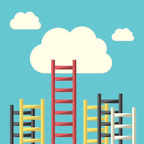 drabina do chmury sukcesu - stopnie do sukcesu stock illustrations