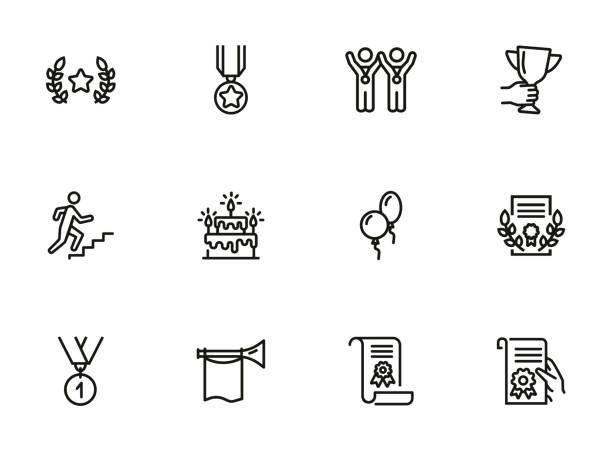 erfolgslinie icon gesetzt - fanfare stock-grafiken, -clipart, -cartoons und -symbole