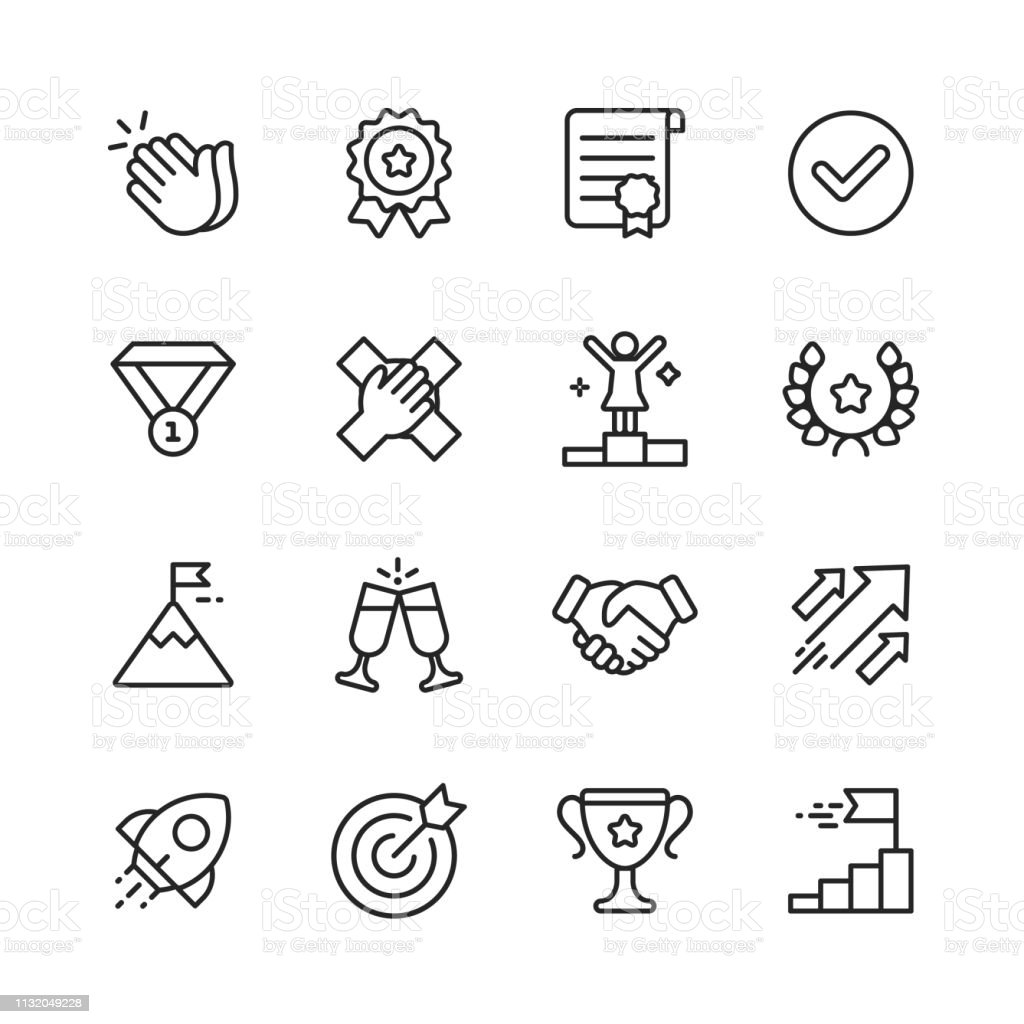 Success Line Icons. Editable Stroke. Pixel Perfect. For Mobile and Web. Contains such icons as Applause, Medal, Trophy, Champagne, StartUp, Handshake. - Royalty-free Apertar a Mão arte vetorial