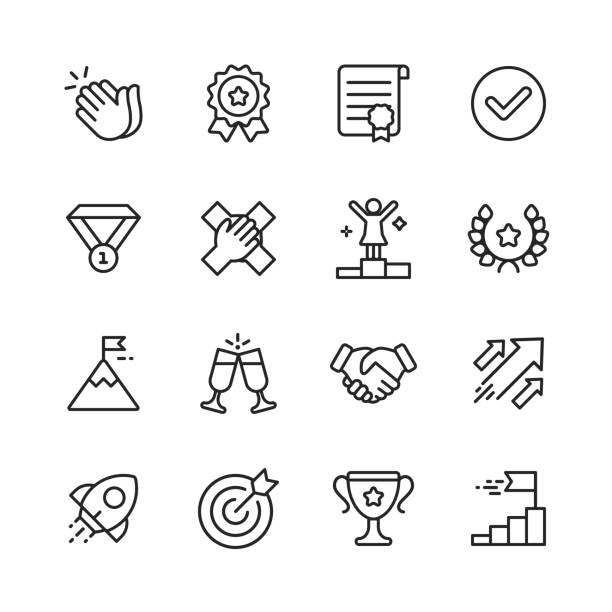 Success Line Icons. Editable Stroke. Pixel Perfect. For Mobile and Web. Contains such icons as Applause, Medal, Trophy, Champagne, StartUp, Handshake. 16 Outline Icons. mountain top stock illustrations