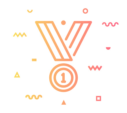 Success Medal Line Style Icon Design