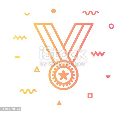 Success medal outline style icon design with decorations and gradient color. Line vector icon illustration for modern infographics, mobile designs and web banners.