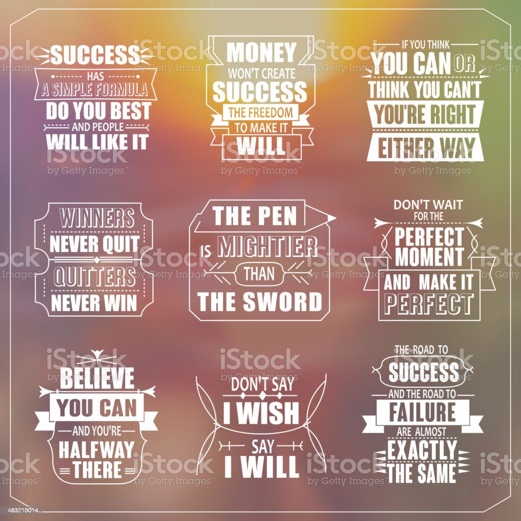success motivational and inspirational quotes set vector art illustration
