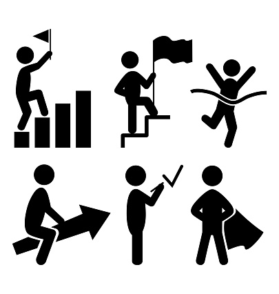 Success People Flat Icons Pictogram Isolated on White