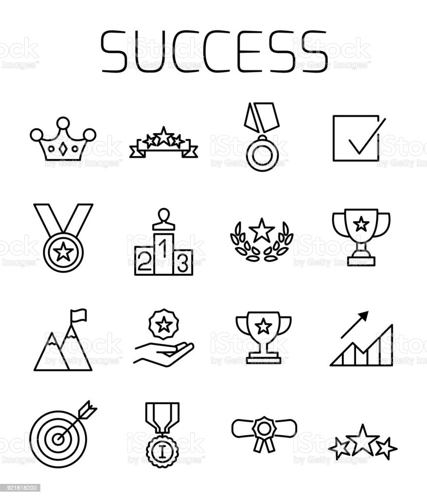 Success related vector icon set. vector art illustration