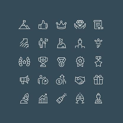 Success & Rewards Line Icons Editable Stroke